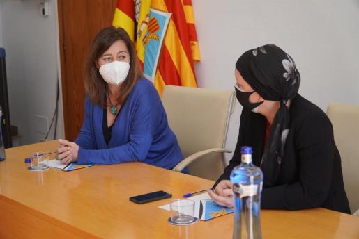 Un momento de la rueda de prensa de la presidenta del Govern, Francina Armengol, y la presidenta del Consell de Formentera, Alejandra Ferrer.