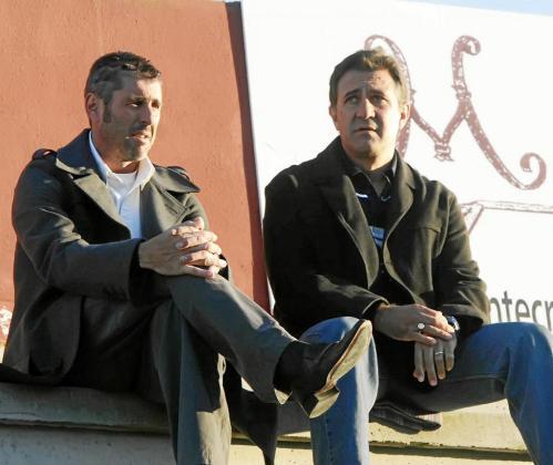 Vicente Román y Quique Yagüe coincidieron en el banquillo de la UD Ibiza el año de su descenso.