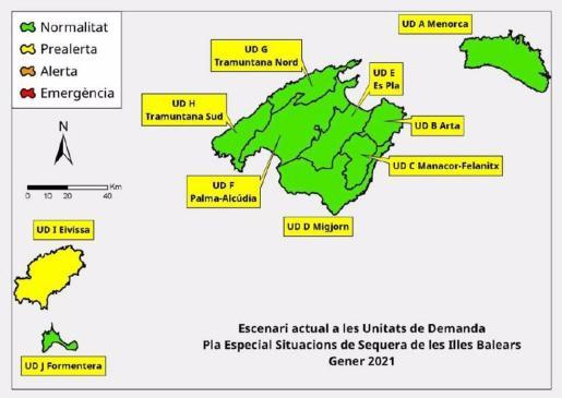 Mapa de las reservas hídricas en Baleares.