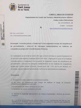 Imagen del documento de aportaciones del Ayuntamiento de Sant Josep al Consell d'Eivissa.