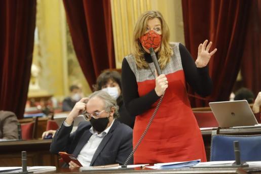 La consellera Gómez durante su comparecencia de ayer ante el pleno del Parlament.