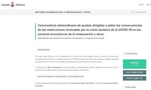 Página web del Consell de Ibiza para solicitar las ayudas.