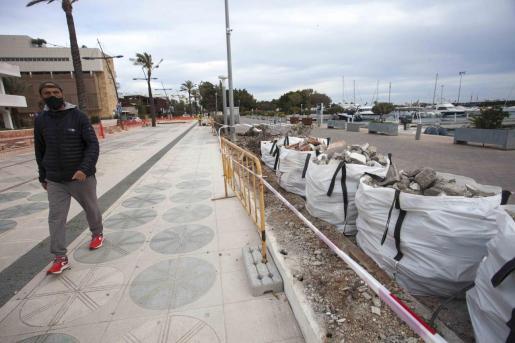 Las obras en el puerto de Ibiza.