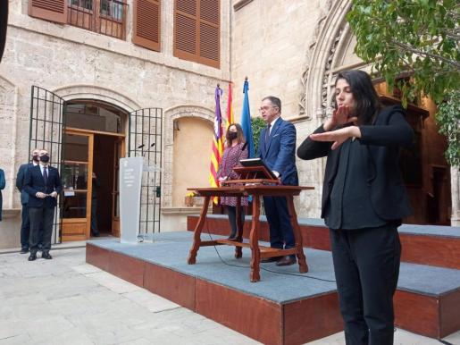 El conseller de Movilidad y Vivienda, Josep Marí Ribas 'Agustinet', en el acto de toma de posesión.