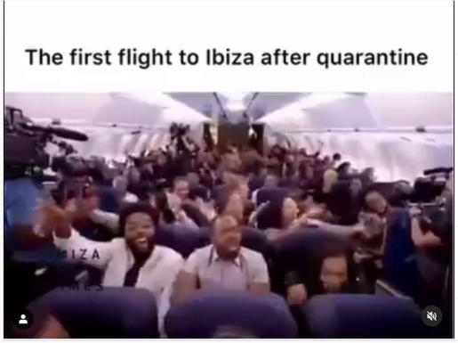 Euforia por volver a Ibiza. Un video colgado por el empresario Wayne Lineker en Instagram en el que se recrea la euforia de los pasajeros en el supuesto primer vuelo a Ibiza después de la crisis lleva más de medio millón de visualizaciones en 48 horas. Se trata de una adaptación de un video del programa de James Coden, Late Late Show, que llenó un avión entero con Kanye West y que Lineker ha rescatado para ilustrar las ganas que tienen los ingleses de venir a Ibiza.
