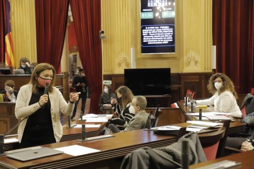 Mercedes Garrido interviene en el pleno del Parlament.