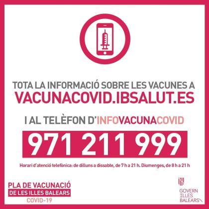 El Govern habilita una nueva línea de atención telefónica y un espacio web para informar a los ciudadanos sobre la vacunación.