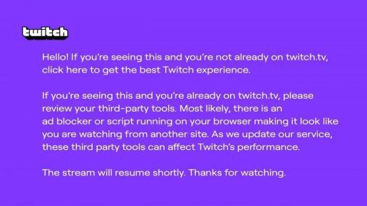 Twitch solo aplicaba esta política en Estados Unidos, donde el mensaje ha sido bautizado como 'el pantallazo morado de la muerte'.