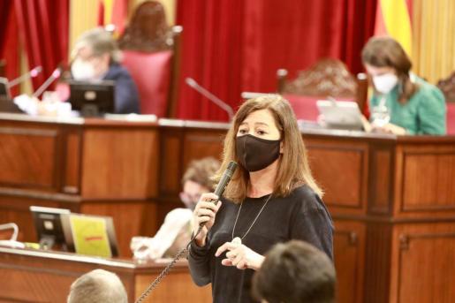 Francina Armengol, este martes durante su intervención en el Parlament.
