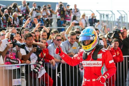 El piloto español Fernando Alonso, tras acabar el Gran Premio de Estados Unidos.