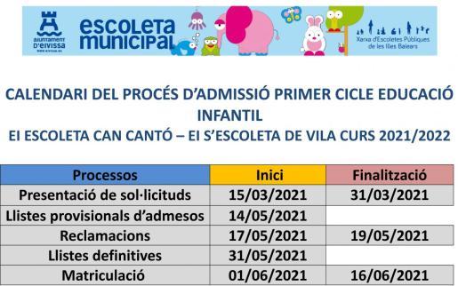 Calendario de escolarización.