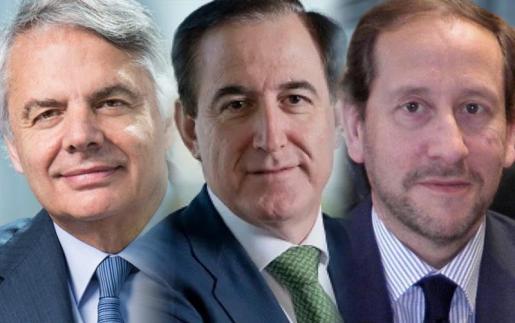 De izquierda a derecha: Ignacio Garralda, consejero delegado de Mutua Madrileña; Antonio Huertas, presidente de Mapfre, y Francisco Lara, presidente de Pelayo.