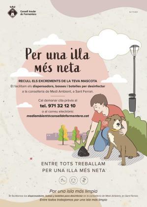 Formentera reparte dispensadores y botellas a los dueños de perros para limpiar los excrementos en la vía pública.