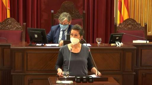 Imagen de la diputata de Formentera Silvia Tur durante una intervención en el Parlament.