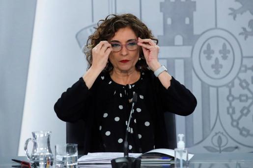 La ministra de Hacienda y portavoz del Gobierno, María Jesús Montero, durante la rueda de prensa posterior a la reunión del Consejo de Ministros.