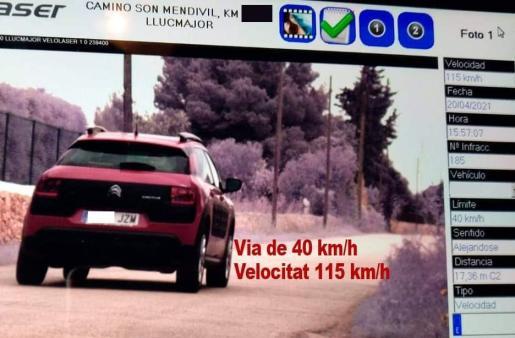 Un radar ha interceptado al vehículo esta martes por la tarde en el camino Son Medevil.
