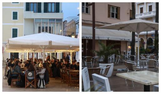 A la izquierda, clientes en un bar de Ciutadella ayer a las 20 horas, poco después de la reapertura. A la derecha, una terraza en el puerto de Ibiza cerrada a la misma hora cuando la incidencia acumulada a 14 días en Menorca prácticamente duplica la de Ibiza. Foto: JOSEP BAGUR GOMILA/IRENE ARANGO