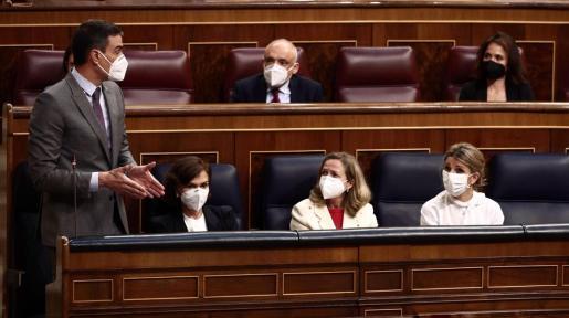 El presidente del Gobierno, Pedro Sánchez, interviene durante una sesión de control al Gobierno.
