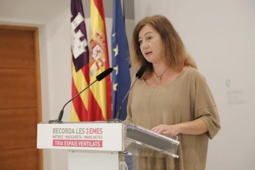 Francina Armengol, durante la rueda de prensa posterior al Consell de Govern.
