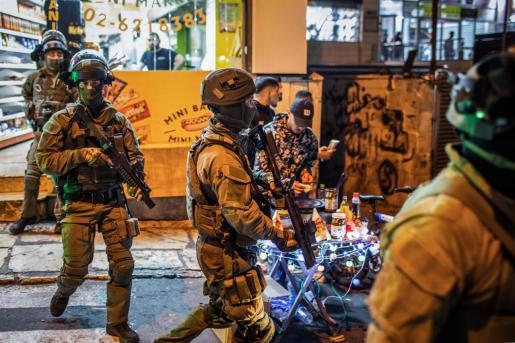 Las fuerzas de seguridad israelíes se despliegan durante una manifestación contra el proceso de desalojo previsto para los palestinos.