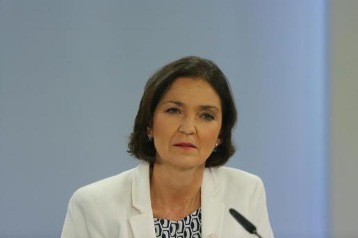 La ministra de Industria, Comercio y Turismo, Reyes Maroto, en una rueda de prensa posterior al Consejo de Ministros celebrado en Moncloa, a 11 de mayo de 2021, en Madrid (España).