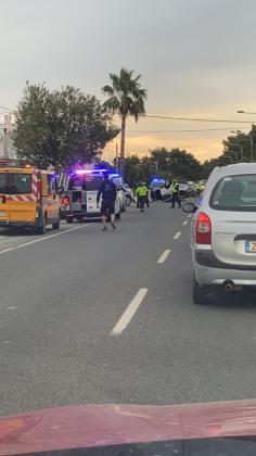 Imagen del accidente registrado en Ibiza en la mañana de este jueves.