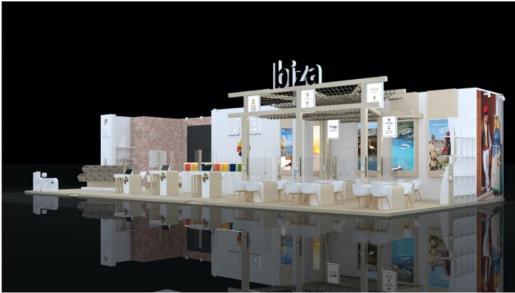Imagen del estand promocional, que tiene una extensión de 199 metros cuadrados.