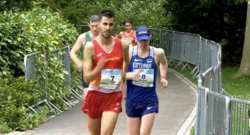 Marc Tur, durante el Campeonato de Europa de 50 kilómetros marcha.