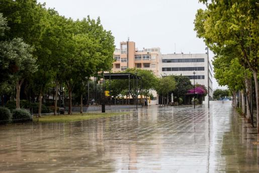 Una imagen de la lluvia en Vila el pasado fin de semana.