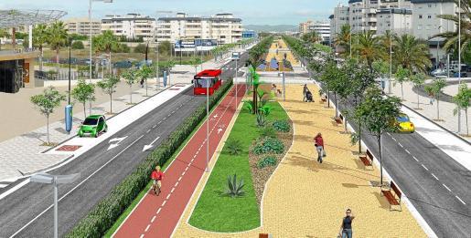 Recreación de cómo quedaría la carretera E10 tras la reforma proyectada por el Consell d'Eivissa.