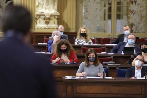 Armengol, en el pleno de Parlament celebrado este martes.