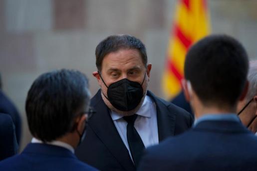 El líder de ERC, Oriol Junqueras, llega a la Generalitat para la toma de posesión de Pere Aragonès.