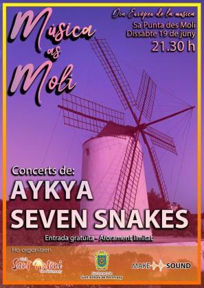 Conciertos este sábado en Sa Punta des Molí de Seven Snakes y Aykya.