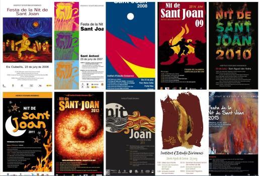 Algunos de los carteles que ya forman parte de la historia de la Festa de la Nit de Sant Joan del IEE.