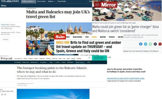 Todos los medios que publicaban la posibilidad de cambio de color en el semáforo covid británico de Baleares destacaban en gran interés que existe tanto por parte de los turistas como de las empresas dedicadas a los viajes.