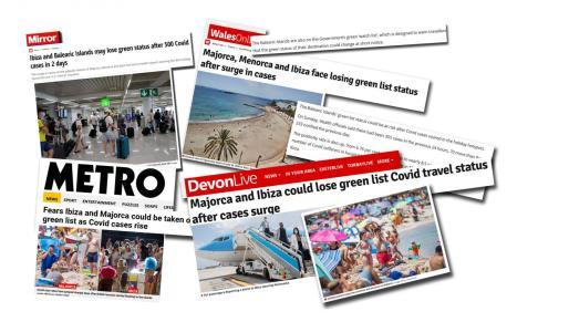 Los medios de comunicación 'online' del Reino Unido no descartan que a corto plazo Balears salga de la lista verde y vuelva a la zona ámbar.