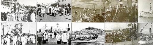 Un panel con las imágenes históricas de la procesión de la Virgen del Carmen, patrona de los marineros.