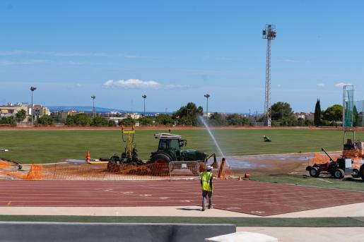 Imagen de archivo de las tareas de remodelación de las pistas de atletismo de Can Misses.