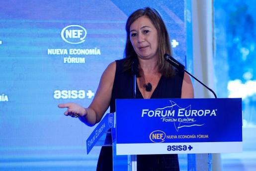 Francina Armengol, presidenta del Gobierno de Baleares, durante su intervención en un desayuno informativo organizado este jueves en Madrid por Nueva Economía Fórum.