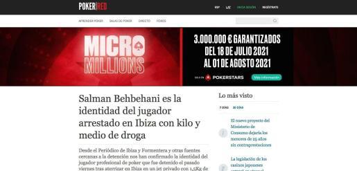 El digital 'Poker Red' recogió la noticia de Periódico de Ibiza. y Formentera.
