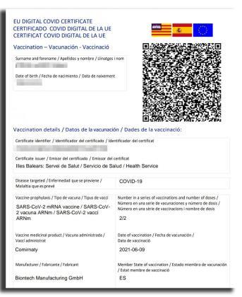 Imagen de un certificado COVID digital UE.