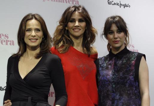 (de i a d) Las actrices Aitana-Sánchez Gijón, Goya Toledo y Blanca Suárez durante la presentación esta tarde en Madrid de la campaña de primavera de El Corte Inglés.