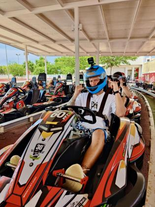 El actual líder del Campeonato del Mundo de Moto GP, Fabio Quartararo, el domingo en Ibiza Karting.