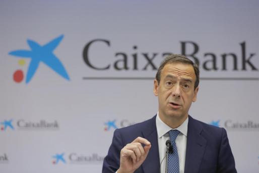 El consejero delegado de CaixaBank, Gonzalo Gortázar, en rueda de prensa este viernes.
