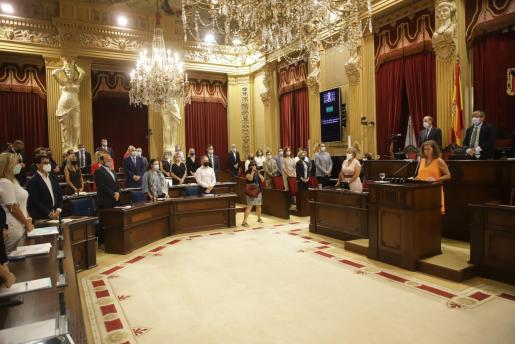 Vista parcial del salón del plenos del Parlament durante la primera jornada del debate.