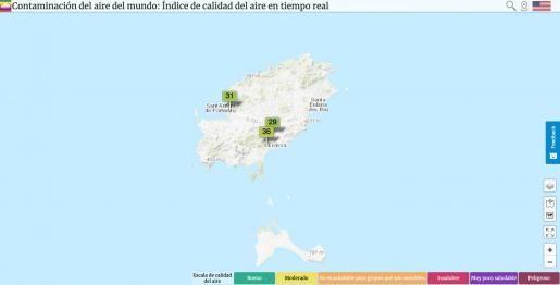 Mapa de la calidad del aire de Ibiza.