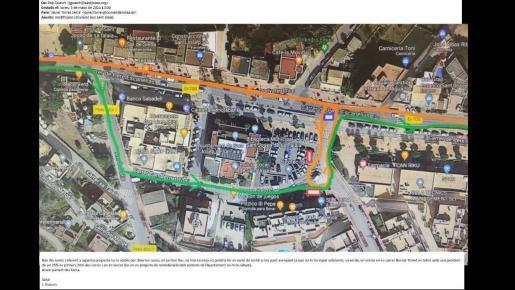 Imagen del recorrido de la línea de autobús con la que no está de acuerdo Sant Josep.