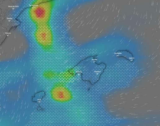 Aquí puede ver en directo la evolución de las lluvias este martes sobre Baleares.