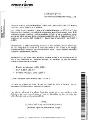 Extracto de la notificación del Patronato de Deportes al CAP para el uso de la pista y el césped.