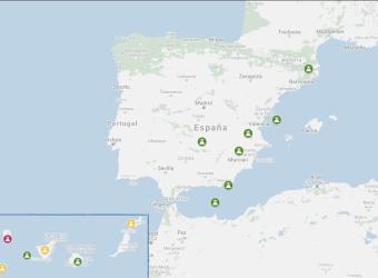 Mapa de volcanes en España.